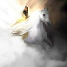 "I❤️️️️Jesus ~ ""Look, He is coming with the clouds,"" and ""every eye will see him"" ~ Revelation King Jesus, Jesus Is Lord, Revelation 19, Jesus Christus, Jesus Is Coming, Prophetic Art, Jesus Pictures, Bible Pictures, Horse Pictures"