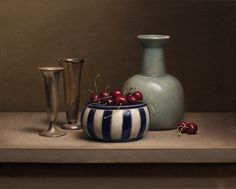 Jos van Riswick (Dutch contemporary artist) - Still life with cherries and vases, 2014