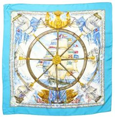 """Heritage Vintage: Hermes Green, Gold & Blue """"Vive le Vent,"""" by Laurence Thioune Silk Scarf Excellent - Available at Weekly Internet Luxury. Scarf Knots, Diy Scarf, Scarf Wrap, Fall Scarves, How To Wear Scarves, Scarfs Tying, Diy Blankets No Sew, Scarf Drawing, Vive Le Vent"""