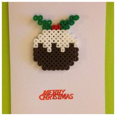 Christmas Pudding Card With Removable Magnet hama beads by KittieMakes