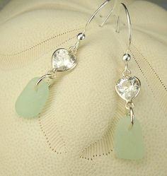 Sea Glass Earrings Amethyst Lavender Hearts by seaglassgems4you, $36.00