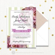 Printable Wedding Invitations Template Green & Lilac by AmeliyCom https://www.etsy.com/listing/259788619/printable-wedding-invitations-template