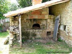 1930's French house's wood bread oven attached to house.