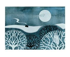 Owl in Winter Screenprint by Sally Elford