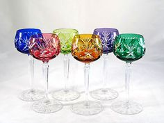 Echt Bleikristall German Multi Color Cut to Clear Crystal Wine Glasses Goblets