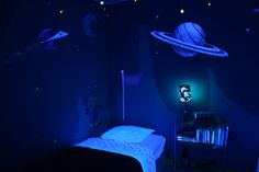 Outer space wall sticker decals for boys room wall mural for Outer space wallpaper for bedroom