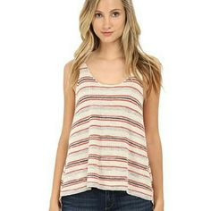 """NWT Free People Oversize Sailor Striped Knit Tank NWT, knit, sweater, tank top in ivory combo color ( cream, gray, orange, and blue) from Free People. Great piece for layering! Cotton, rayon, linen blend material. Slight high low design. Size small ( but I'm usually an xsmall in FP and think it fit me nicely as well with a looser look), but seems it would also fit a medium..please see measurements. Chest is 22"""" wide and approx. 27.5"""" long in front. Perfect new condition!!! Great and…"""