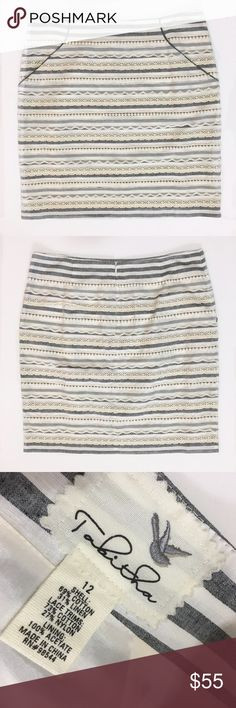 """Anthropologie cotton and lace skirt Anthropologie (by Tabitha) cream and gray striped skirt with lace detailing. Front pockets. Hidden back zipper. Fully lined. Approx measurements laying flat: waist 17"""", length - 21"""". Excellent, like new condition Anthropologie Skirts Pencil"""