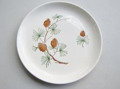 Stetson Pottery Pine Cones Dessert Plates by TenVintageSparrows