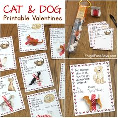 Cats and Dogs Printable Valentine's Day Cards - Frugal Fun For Boys and Girls Valentines Day Dog, Printable Valentines Day Cards, Valentines Day Activities, Cat Valentine, Barbie, Holiday Fun, Easy Crafts, Boy Or Girl, Dog Cat