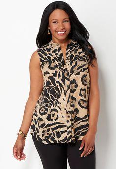 Animal Print Sleeveless Mandarin Blouse - All StylesChristopher & Banks