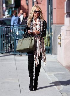 Leave it to Rachel Zoe!!! Style perfection...that bag..those thigh highs...BANANAS **