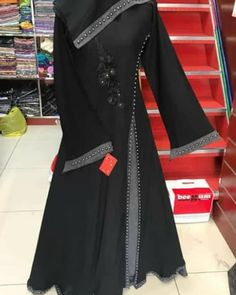 with work and pearls Nida material with chiffon Double layer 2800 only Beautiful Hijab, Most Beautiful Women, Black Abaya, Niqab Fashion, Islam Beliefs, Islam Religion, Abaya Designs, Fashion Sewing