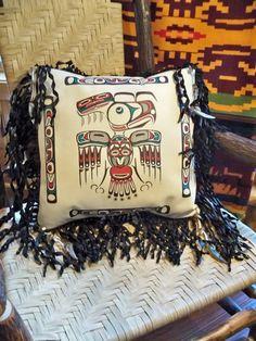 Native American style art  pillow Haida by stargazermercantile, $225.00