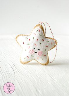 PDF Pattern Sugar Cookie Star Kawaii Christmas Ornament