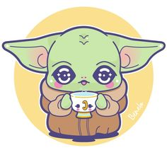 The Child of Star War with a cup of tea. Pikachu, Star Wars, Stars, Children, Baby, Fictional Characters, Tea, Drawings Of People, Step By Step Drawing