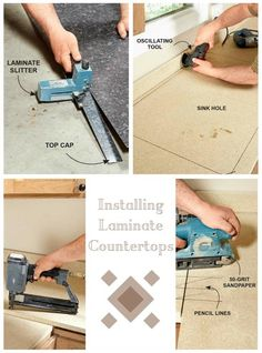 Installing Laminate Countertops: Build a laminate countertop from scratch. http://www.familyhandyman.com/kitchen/countertops/installing-laminate-countertops