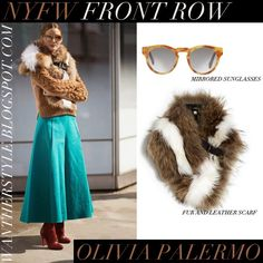 WHO: Olivia Palermo at Delpozo fashion show during New York Fashion Week on February 18 2015  WHAT SHE WORE: Olivia wore fur and leather Fendi scarf, brown knit sweater by Tommy Hilfiger, teal wide leg Delpozo pants, burgundy leather boots by Christian Louboutin and Westward Leaning round mirrored sunglasses
