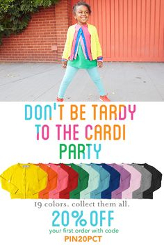 Don't be tardy to the cardi party! Choose from 19 vibrant colors in kids sizes 2-12. Pairs well with EVERYTHING! Welcome to Primary. New customers save 20% + FREE shipping with code: PIN20PCT