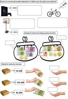 Montessori Math, Preschool Math, Teaching Math, Money Worksheets, Worksheets For Kids, Math For Kids, Activities For Kids, Euro, Play Money