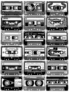 There is symmetrical balance to the even placement of cassette tapes throughout the graphic. Ps Wallpaper, Retro, White Image, Laura Lee, Mixtape, Artwork Prints, Illustration, Pop Art, Hip Hop