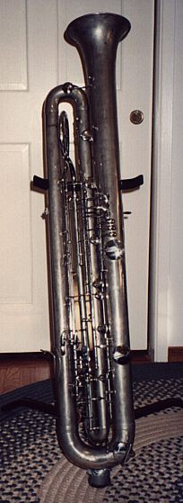 Sarrusophone, contrabass, rare Saxophone-like unusual musical instrument. Built in the 1800's by Gautrout for military use to bolster or replace oboes and bassoons.