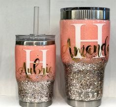Mommy and Me Stainless Steel Tumbler Set - Personalize - Glitter Tumbler - Customize - with Straw - Pink and Gold Glitter - Dipped Diy Tumblers, Custom Tumblers, Glitter Tumblers, Glitter Cups, Gold Glitter, Glitter Eye, Diy Home Decor Projects, Burlap Projects, Burlap Crafts