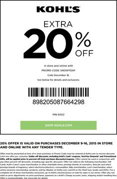 Pinned December 12th: Extra 20% off at #Kohls or online via promo code SNOWYDAY #coupon via The #Coupons App Kohls Promo Codes, Shopping Coupons, 20 Off, Coding, November, Apps, November Born, App, Programming