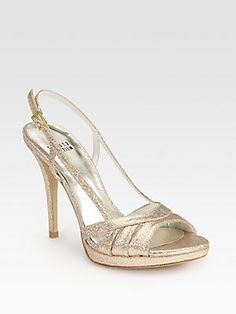 Stuart Weitzman Mischief Glitter-Coated Leather Slingback Sandals
