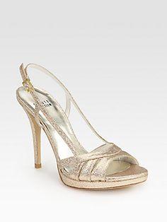 Stuart Weitzman Mischief Glitter-Coated Leather Slingback Sandals