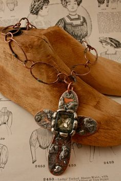 Etched Copper Metal Cross with Soldered Vintage Jewel Necklace