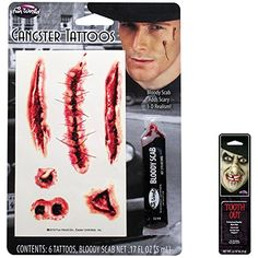 2018 Potomac Banks Bundle: 2 Items - Gangster Bloody SuperToos Tattoo Makeup Kit with Free Pack of Makeup and more Accessories / Kits for Women's Costumes, Women's Halloween Costumes for Gangster Tattoos, Scary Costumes, 1 Tattoo, Makeup Tattoos, Halloween Dress, Makeup Kit, 3 D, Make Up, Banks