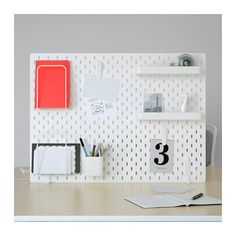Online Ikea IKEA SKADIS Pegboard combination, white cm in Auckland NZ. Lowest prices and largest range of IKEA Furniture in New Zealand. Shop for Living room furniture, outdoor furniture, bedroom furniture, office and alot more ! Ikea Skadis, Ikea Desk, Letter Tray, Letter Holder, Organisation Ikea, Desk Wall Organization, Desk Storage, Organizing Office Supplies, Organizing Tips