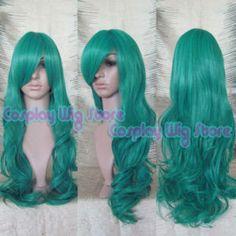 80cm Long Curly Green Fashion Hair Wig A298
