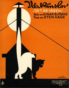"Vintage Swedish sheet music: ""Vårkänslor"" by Ejnar Björke and Sten Hage (1930) - Cover illustration by Nils Gustaf Granath (Swedish, 1896-1937)"