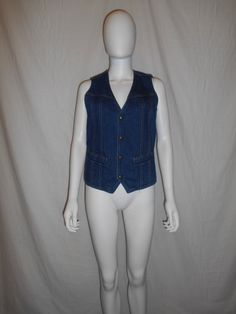 LEE Denim Jean button up lined Vest Made in by ATELIERVINTAGESHOP