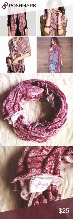 Free People Oversized Bandanna Scarf Free People  ▫️Large / oversized  ▫️scarf ▫️maroon ▫️bandanna print ▫️100% Cotton   ▪️FREE GIFT WITH EVERY PURCHASE!! Free People Accessories Scarves & Wraps