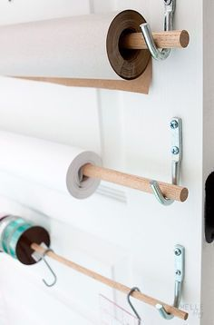 DIY Wall Mounted Wrapping Paper Storage Remodelista Informations About Browse Domestic Science Archives on Remodelista Pin You can easily use … Office Storage, Closet Storage, Diy Storage, Storage Spaces, Storage Ideas, Storage Solutions, Bathroom Storage, Bathroom Closet, Storage Design