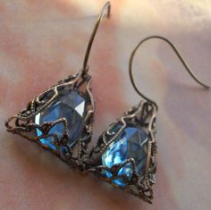 Vintage Style Blue Glass and Filigree Earrings $18