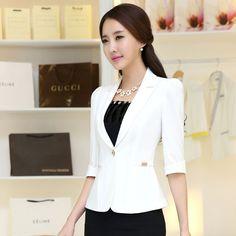 2016 Women's office work Jacket Spring Autumn half sleeve Solid Color Ruffled Blazers feminino Fashion Slim elegant Casual Coat