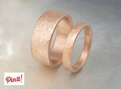 Rose Gold Hammered Bands by Ravens' Refuge on Etsy