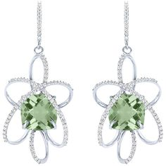 Women's Silver Earrings by Arya Esha Cushion Cut Prasiolite and... ($1,915) ❤ liked on Polyvore featuring jewelry, earrings, green, prasiolite earrings, green quartz earrings, green diamond earrings, silver jewelry and cushion cut earrings