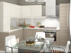 Угловая кухня модерн в светлых тонах, гарнитур для стандартной кухни / Small kitchen with nice and clean design is fair shades