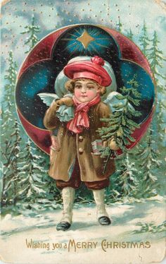 Vintage Embossed Christmas Postcard Cupid Child w/ Tree & Sack, Snowy Forest W5 #Christmas