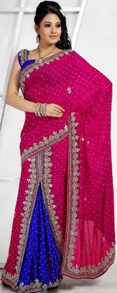 Crimson #Designer #Wedding Lehenga Style #Saree | @ $168.79