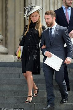 Lady Amelia Windsor leaving the National Service of Thanksgiving to mark the Queen's 90th birthday with her 27-year-old brother Edward, Lord Downpatrick