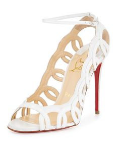 Houla+Hot+Patent+100mm+Red+Sole+Sandal,+White+by+Christian+Louboutin+at+Neiman+Marcus. $1095.