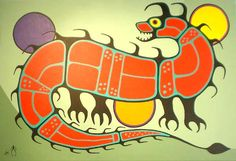 Canadian First Nations Art, Greenery Gallery Vancouver BC. First Nations Ojibway Woodland Art in the style of Norval Morrisseau by Jim Oskineegish. Shaman Ojibwe Artist of the Contemporary Woodland Art Movement Native Art, Native American Art, Woodland Art, Unusual Art, Indigenous Art, Mexican Folk Art, Aboriginal Art, Tribal Art, First Nations