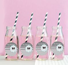 Gender Reveal Party Favors  Glass Milk Bottles for by ModParty, $23.00