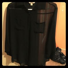 Black chiffon material blouse Super cute mid-sleeve shirt worn just a handful of times just doesn't fit anymore! Fold up sleeve cuffs, and pocket on the left side chest! Decree Tops Button Down Shirts